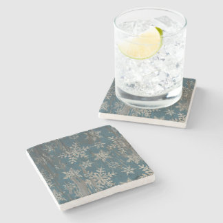 snowflake Christmas Holiday Rustic coaster