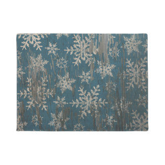 snowflake Christmas Holiday Rustic Door Mat