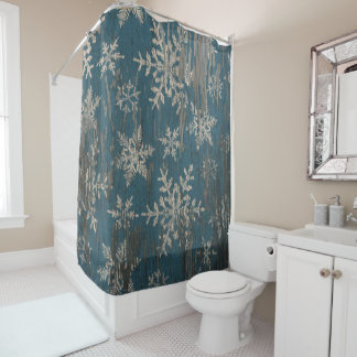 snowflake Christmas Holiday Rustic shower curtain