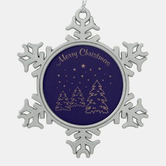 Snowflake Christmas Landscape Gold–Own Color Snowflake Pewter Christmas Ornament