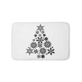 Snowflake Christmas Tree Bath Mat