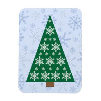 Snowflake Christmas Tree  on Snowflake Blizzard Rectangular Photo Magnet
