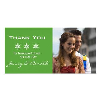 Snowflake Christmas Wedding Thank You PhotoCard Customized Photo Card