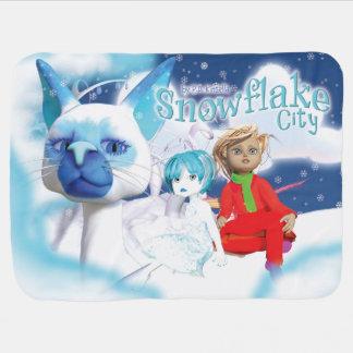 Snowflake City Baby Blanket. Swaddle Blankets