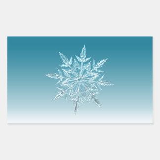 Snowflake Crystal Rectangular Sticker