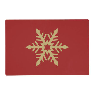 Snowflake Design Gold on Red Laminated Placemat