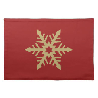 Snowflake Design Gold on Red Place Mat