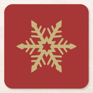 Snowflake Design Gold on Red Square Paper Coaster