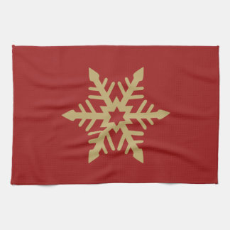 Snowflake Design Gold on Red Tea Towel