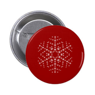 Snowflake Design in Dark Red and White. 6 Cm Round Badge