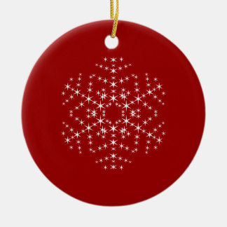 Snowflake Design in Dark Red and White. Christmas Ornament