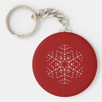 Snowflake Design in Dark Red and White. Key Ring