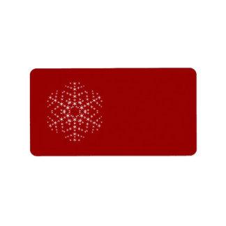 Snowflake Design in Dark Red and White. Label