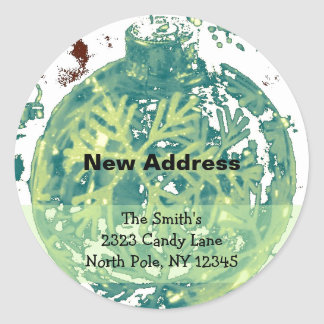 Snowflake Design New Address Classic Round Sticker