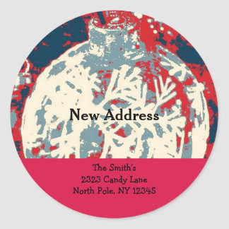 Snowflake Design New Address Classic Round Sticker