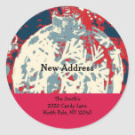Snowflake Design New Address Round Sticker