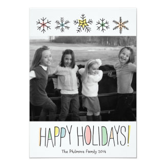 Snowflake Doodles Holiday Photo Card 13 Cm X 18 Cm Invitation Card