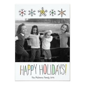 Snowflake Doodles Holiday Photo Card 13 Cm X 18 Cm Invitation Card
