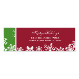 Snowflake Edge Holiday Gift Tag Pack Of Skinny Business Cards
