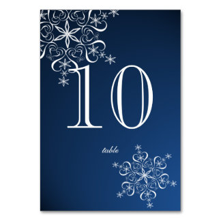 Snowflake Elegance Blue Table Number Table Card