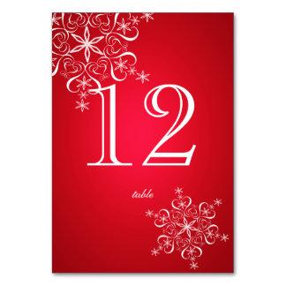 Snowflake Elegance Red 2 Table Number