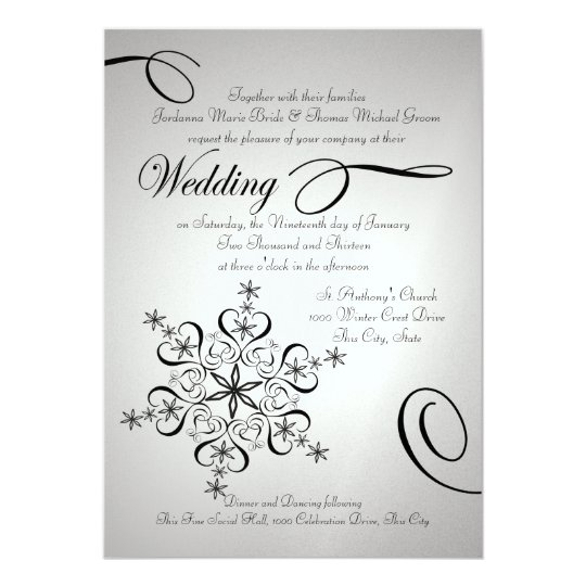 Snowflake Elegance Silver Winter Wedding Card