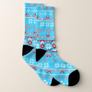 Snowflake Fair Isle Red and Light Blue Socks 1