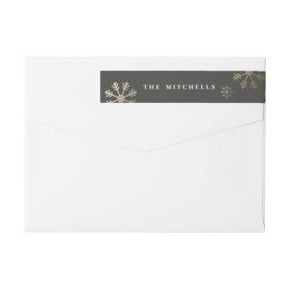Snowflake faux foil wrap around return address wrap around label