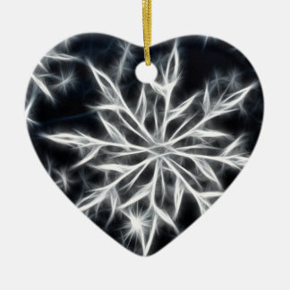 Snowflake feather look, Christmas style Ceramic Heart Decoration