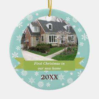 Snowflake flurry green banner teal custom photo christmas ornament