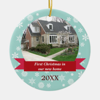 Snowflake flurry red banner teal custom photo christmas ornament