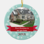 Snowflake flurry red banner teal custom photo round ceramic decoration