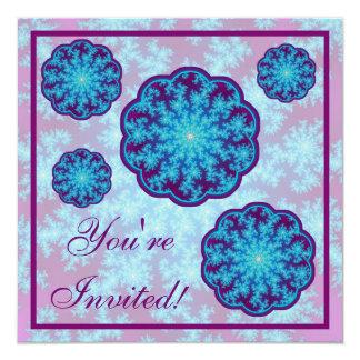 Snowflake Fractal: Aqua Blue 13 Cm X 13 Cm Square Invitation Card