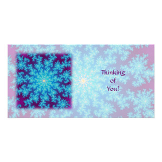 Snowflake Fractal: Aqua Blue Photo Greeting Card
