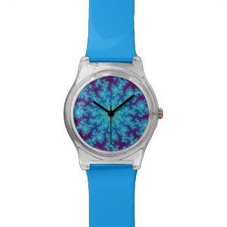 Snowflake Fractal Aqua Blue Wristwatches