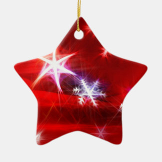 Snowflake Fractal in  Red Christmas Ornament