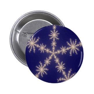 Snowflake Fractal Night 6 Cm Round Badge