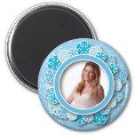 Snowflake frame 6 cm round magnet