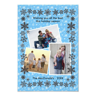 Snowflake Frame Blue 3 Photos - 3x5 Christmas Card