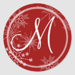 Snowflake Gems Nature/ Monogram Round Sticker