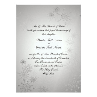 Snowflake Gems Silver Invitations