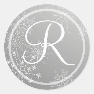 Snowflake Gems Silver/ Monogram Classic Round Sticker