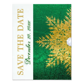 Snowflake gold emerald green wedding Save the Date 11 Cm X 14 Cm Invitation Card