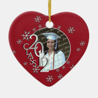Snowflake Graduate Photo Red Ceramic Heart Decoration