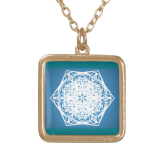 Snowflake graphic gold plated necklace