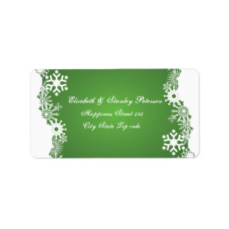 Snowflake green white winter wedding label