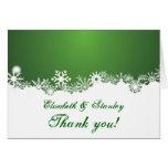 Snowflake green white winter wedding Thank You Greeting Card