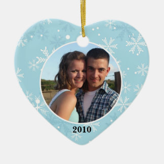 Snowflake Heart Ornament Photo Template