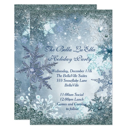 Snowflake Holiday Party Invitations