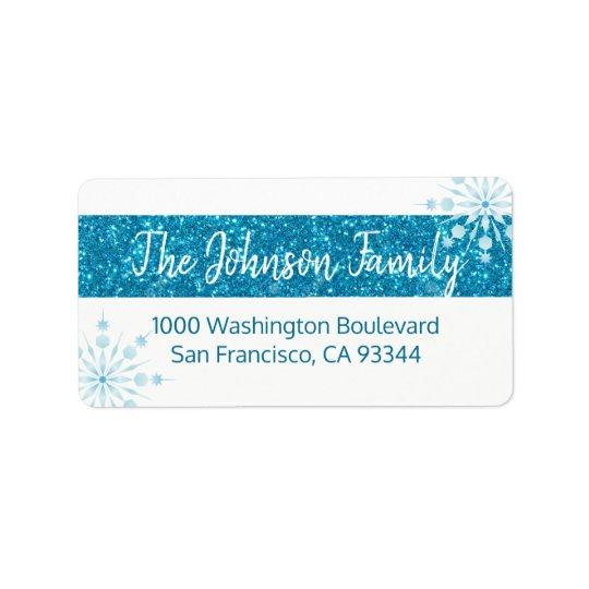 SNOWFLAKE Holiday Xmas Blue Glitter Return Address Label